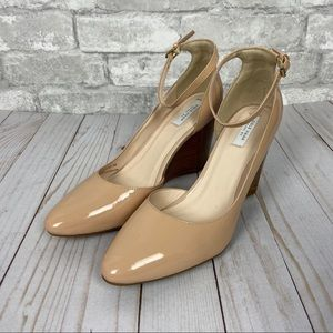 Cole Haan Nude Patent Lacey Ankle Strap Wedge